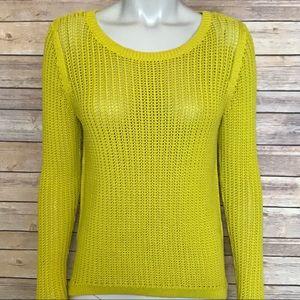 {LOFT} chartreuse colored hi lo pullover